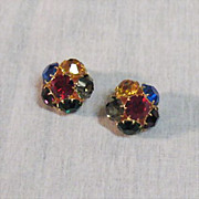 SALE Spectacular Vintage Rhinestone Clip Earrings~Huge Multi Colored Rhinestones