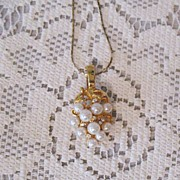 SALE Gorgeous Vintage Necklace Faux Pearl & Rhinestone Pendant