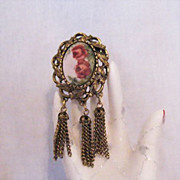 Gorgeous Vintage Rose Painted Ceramic Tassel Brooch Floral