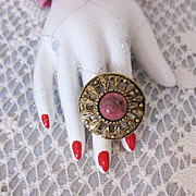 Fabulous Vintage Mid Century Statement Ring Glass Coral Stone