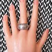 Vintage Silver Metal Costume Jewelry Mid Century Dome Ring