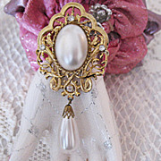HUGE Vintage Glass Pearl Dangle Rhinestone Brooch