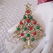 SALE Vintage Golden Christmas Tree with Celluloid Ornaments