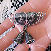 Rare Sterling Siam Nielloware Vintage Double Heart & Bells Brooch