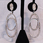 Wow Signed Napier Rhinestone Shoulder Duster Earrings