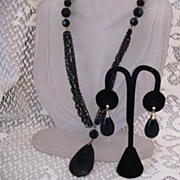 Crown Trifari Black Enameled & Resin Necklace & Pierced Earrings
