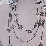 Amazing Signed Chipita Crystal Rhinestone & Natural Stone Necklace 52� Long!
