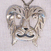 Fabulous Vintage Lion Head Rhinestone Eye Necklace