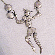 Rare Vintage Polcini Faceless Pierrot Clown Articulated Necklace