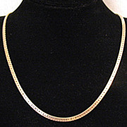 Vintage 14K Gold Italian Flat Link Chain Necklace 13.9grams