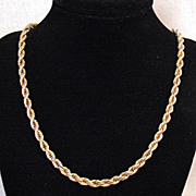 Vintage 14K Gold Italian Twisted Rope Chain Necklace 34.2 grams