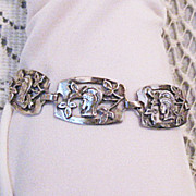 Rare Greek Goddess Sterling Silver Arts & Crafts Bracelet