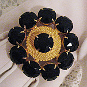 Amazingly Chic Vintage Black Glass Rhinestone Brooch~MINT