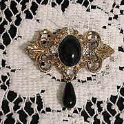 REDUCED Beautiful Victorian Revival Brooch Black Glass Tear Drop Floral Rhinestones
