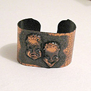 REDUCED Unusual Vintage Copper Mime Cuff Bracelet Hand Hammered~Smiling & Sad~Large