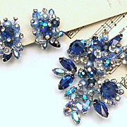 Sparkling Blue VENDOME Brooch and Earrings