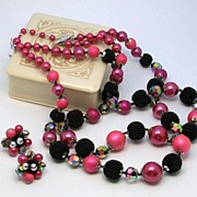 SOLD VENDOME Mauve and Black art bead Necklace & Earrings