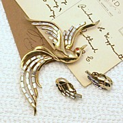1950 TRIFARI Bird pin & Earrings