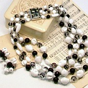 HATTIE CARNEGIE Black & White Art Glass Beaded Necklace and Earrings