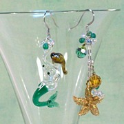 MERMAID FROLIC ...........Asymmetrical Earrings by Temptations