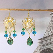 GREEN OPAL ........Elegant Pierced Earrings by Temptations