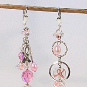 PINK RIBBON.......Asymmetrical Earrings by Temptations