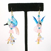 Blue and Pink HUMMINGBIRDS.......Symmetrical Earrings