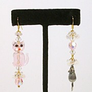 CAT & MOUSE in Pink......Asymmetrical Earrings