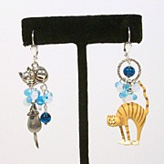 Tiger-Stripe CAT & MOUSE.............Asymmetrical Earrings