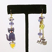I LOVE MY CAT in Lavender.......Asymmetrical Earrings
