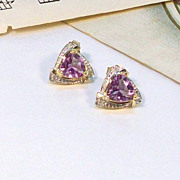 10kt Yellow and White Gold Pierced Earrings with Pretty Amethyst Stone
