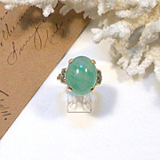 SOLD 14 Karat GOLD & Chrysoprase Ring w/ TEAL-BLUE Accent Diamonds w/ written Appraisal of $2,