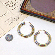 SOLD 14kt Two-tone Yellow & White Gold Hoop Pierced Earrings