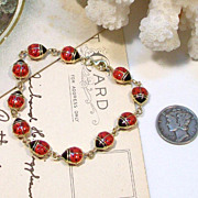 SOLD 14kt Yellow Gold LADYBUG Enamel Bracelet.....too cute!!