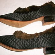 Early 1900's Old Store Stock Quilted Slippers with Fur