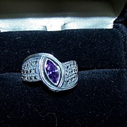 Larger Vintage Marcasite Ring with Purple Stone
