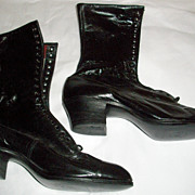 Great Pair of Black NOS Lace-Up Victorian Boots