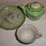 Miniature Green Dragonware Teapot and Cup Saucer
