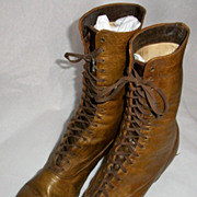 Light Brown or Rust Victorian Lace-up Boots