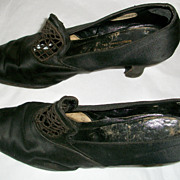 1920's or 30's Black Silk Pumps