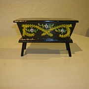 HTF Vintage Black Lacquered Wood Doll Dough Box!