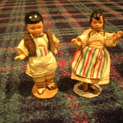 Vintage All-Bisque German Pair of Doll-House Dolls in All Original Greek Costumes!