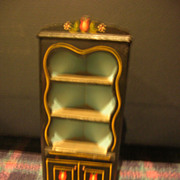 HTF Vintage Black Lacquered Wood Doll Corner Cupboard!