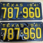 1941 Authentic Texas License Plate Pair Restored To Perfection
