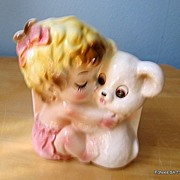 SALE 1950's Lefton Baby & Teddy Bear Planter