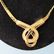 REDUCED Pierre Cardin Logo Gold Tone Herringbone  & Enamel Inlay Necklace