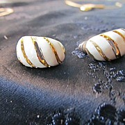 Golden Cloisonne Ivory & Gold Tone Pierced Earrings
