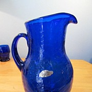 Cobalt Blue Crackle Pitcher