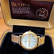 Bulova 23 Jewel Self Winding Men's Wristwatch Waterproof Six Adjustments & Box