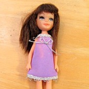 "REDUCED Uneeda 1960's 7"" Fashion Doll Original Halter & Silver Go Go Dress"